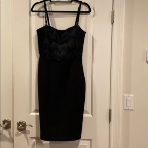 Banana Republic black dress with fringe on top